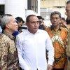 Gubsu Edy Rahmayadi dan Wagubsu Musa Rajekshah ketika menghadiri Halalbihalal pegawai PDAM Tirtanadi di Kantor PDAM Tirtanadi, Jalan Sisingamangaraja, Medan