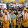 Penyambutan kedatangan Gubernur dan Wakil Gubernur Sumatera Utara, Edy Rahmayadi dan Musa Rajekshah di Bandara Kualanamu , Deli Serdang