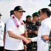 Penjabat Gubernur Sumatera Utara (Pj Gubsu) Drs Eko Subowo MBA menyambut kedatangan Menteri Pertahanan (Menhan) Jenderal TNI (Purn) Ryamizard Ryacudu di Pangkalan Udara Soewondo