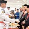 Gubernur Sumatera Utara Edy Rahmayadi ketika menghadiri acara Pemulangan Pasukan Pengibar Bendera Pusaka Provinsi Sumatera Utara Tahun 2019 di Aula Rumah Dinas Gubernur Sumatera Utara Jalan Sudirman Medan